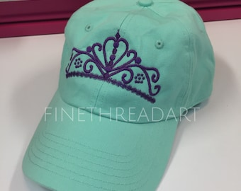 Ready to Ship Princess Tiara Crown Queen Adult Baseball Hat Cap Purple and Sea Foam Teal Princess Ladies Women