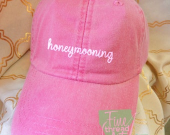 Adult or Ladies Honeymooning Wedding Baseball Cap Hat LEATHER strap Preppy Bridal Party Bride Bridesmaid Honeymoon Bachelorette