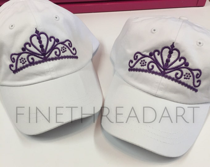 Featured listing image: Ready to Ship Princess Tiara Crown Queen Adult Baseball Hat Cap Purple and White Princess Ladies Women