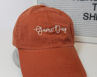 READY TO SHIP Game Day Adult Hat Orange and White Dad Hat Ladies Men Size Texas Burnt Orange Horns ootball Mom Friday Night Tailgate