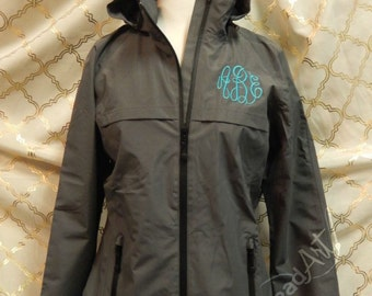 Monogram Rain Coat Jacket Slicker for Ladies Zip Up with Hood Plus Size available