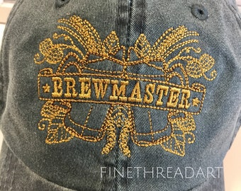 Adult Dad Hat Brewmaster with Side Monogram Baseball Cap Hat LEATHER strap Pigment Dyed Father's Day Craft Brew Beer Hops Barley Mug Cheers