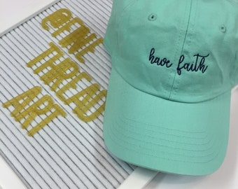 LADIES Have Faith Hat with Side Monogram Baseball Cap LEATHER strap Pigment Dyed Summer Beach Vacation Cruise Religious Believe Christian