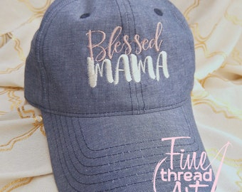 LADIES Blessed Mama Hat Chambray Baseball Cap Hat Blue Denim Jean Mom Mother's Day
