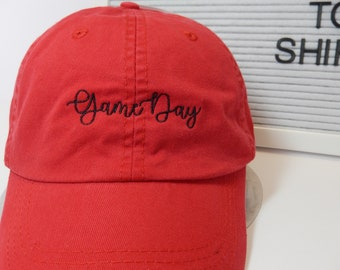 READY TO SHIP Game Day Adult Hat Red and Black Dad Hat Ladies Men Size Louisiana Cajun Lafayette Football Mom Friday Night