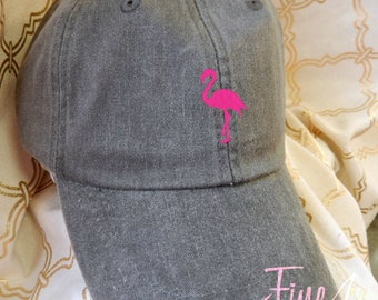 Kids or Adult Ladies Size Flamingo Mini Design Baseball Cap Hat Leather Strap Beach hat Vacation Bachelorette Wedding Bridesmaid Cruise Vaca