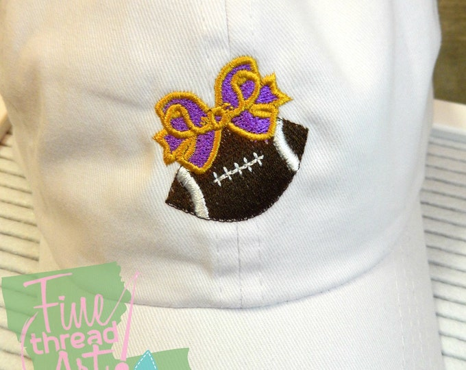 Featured listing image: LADIES or KIDS Football with Bow Hat with Side Monogram Baseball Cap LEATHER strap Team Colors Football Game Day Tailgate Mom Daughter match