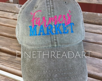 Adult Size Farmers Market Hat with or without Side Monogram Baseball Cap LEATHER strap Farm Farmer Small Business Maker Produce Unisex
