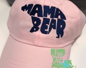 LADIES Mama Bear Monogram Baseball Cap Hat LEATHER strap Travel Camp Outdoors Summer Mother's Day Mom Momma Mama Pregnancy Announcement