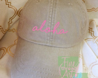 LADIES Aloha Hat with Side Monogram Baseball Cap LEATHER strap Pigment Dyed Summer Beach Vacation Cruise Travel Custom Trip Fishing Hawaii
