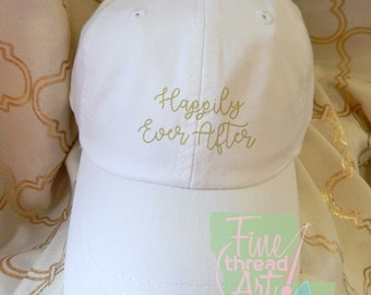 Adult or Ladies Happily Ever After Wedding Baseball Cap Hat LEATHER strap Preppy Bridal Party Bride Bridesmaid HoneymoonBachelorette