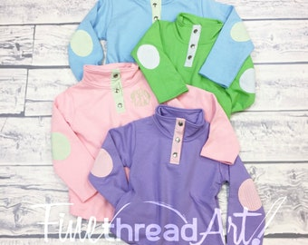 PREORDER KIDS French Terry Seersucker Quarter Snap Pullover Youth Pink Green Purple Blue Monogram Gift Fall Autumn Sweatshirt Jacket