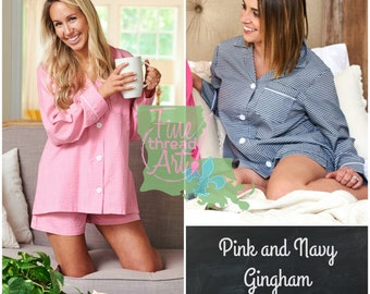 PREORDER Gingham Pink or Navy Ladies Pajama Short Set Button Down Lounge Shirt with Shorts Monogram Gift for Bride Mom Bridesmaids Mom to Be