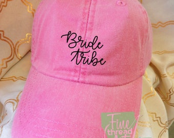 Adult or Ladies Bride Tribe Wedding Baseball Cap Hat LEATHER strap Preppy Bridal Party Bride Bridesmaid Honeymoon Bachelorette Party Trip