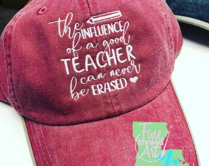 Featured listing image: LADIES Teacher Monogram Baseball Cap Hat LEATHER strap Teach Gift Inspire Influence School End of Year Beach Summer