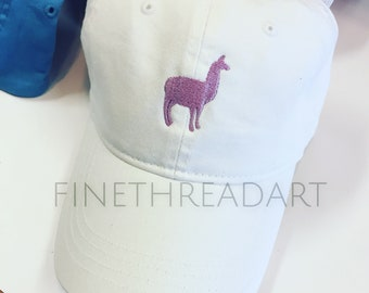 Llama Alpaca Cap Hat FABRIC strap Adult Ladies or Kids Size Farm Livestock Farmer