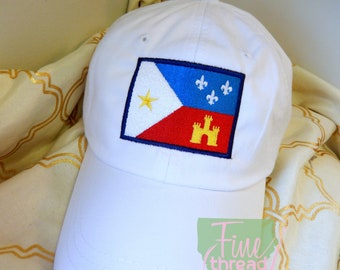 Adult or Kids Acadian Flag Baseball Cap Hat LEATHER strap Louisiana Cajun Fleur de Lis Castle Bayou Lafayette South Acadiana