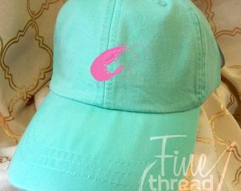 Kids or Adult Ladies Size Shrimp Mini Design Baseball Cap Hat Leather Strap Beach hat Vacation Bachelorette Louisiana Boat Fishing Cruise