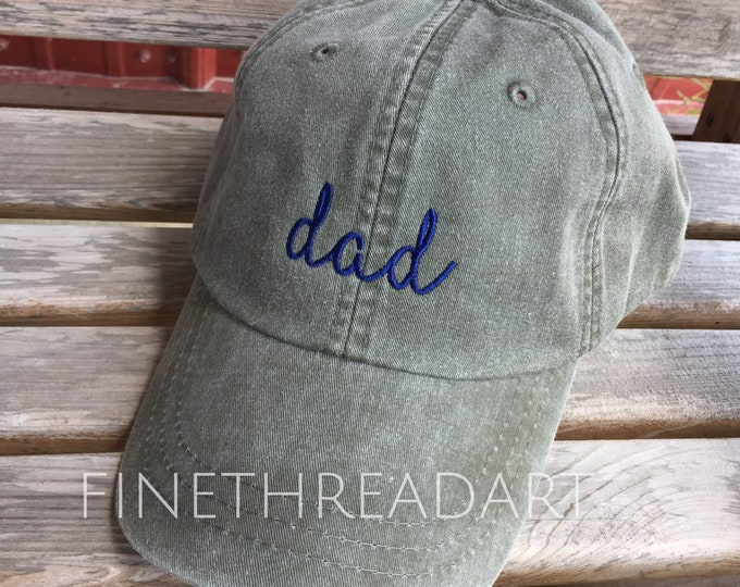 Featured listing image: Ready to Ship Dad Hat Adult Baseball Hat Cap Olive Green and Navy Blue Father's Day