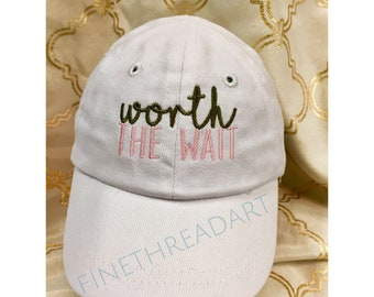 Infant or Small Toddler Worth the Wait Monogram Baseball Cap Hat for Girls Boys Kids Size Elastic Baby Hat Pink Blue White Rainbow Baby
