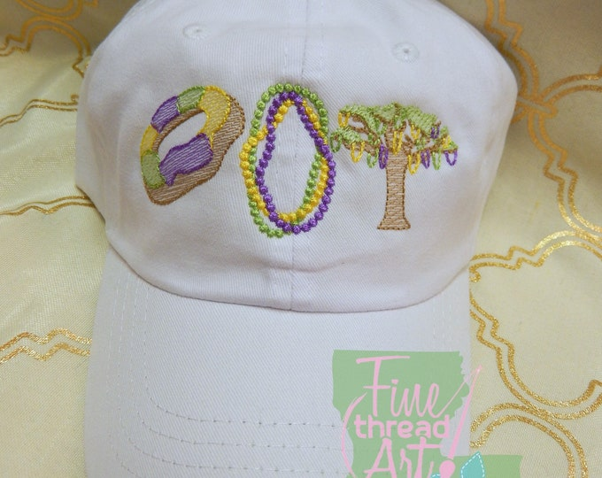 Featured listing image: Adult or Kids Mardi Gras King Cake Baseball Cap Hat LEATHER strap Louisiana Cajun Parade Float Krewe Beads Bayou Lafayette New Orleans