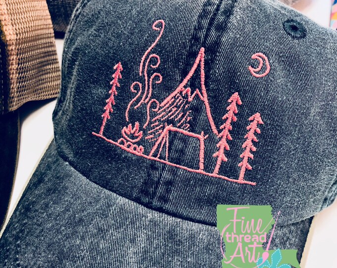 Featured listing image: LADIES Camping Monogram Baseball Cap Hat LEATHER strap Travel Camping Tent Mountain Campfire Camp Fire Moon Tree Wanderlust Summer Vacation