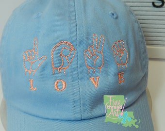 READY to SHIP Love American Sign Language ASL Adult Hat Blue and Coral Dad Hat Ladies Men Size Hands Fingers