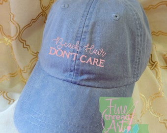 LADIES Beach Hair Don't Care Hat with Side Monogram Baseball Cap LEATHER strap Pigment Dyed Summer Beach Vacation Cruise Travel Custom Trip