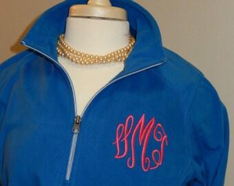 Monogram Fleece Quarter Zip Jacket Layering Piece Plus Size Available 3X 4X Ladies Women