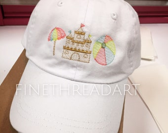 KIDS Beach Baseball Cap Hat for Girls Boys Youth Size Leather Strap Summer Vacation Sand Castle Umbrella Beach Ball