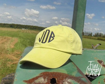 LADIES Circle Monogram Baseball Cap Hat  LEATHER strap Mom Bridesmaid Bride Bachelorette Pigment Dyed
