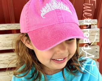 KIDS Princess Tiara Queen Crown Baseball Cap Hat Leather Strap Dad Hat Youth Child Girl Children