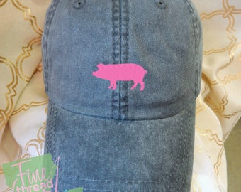 Kids or Adult Ladies Size Pig Mini Design Baseball Cap Hat Leather Strap Beach hat Vacation Farm Pig Livestock Show Pig Rodeo Pot Belly