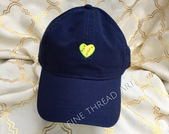 Baseball or Softball Heart Mini Design Cap Hat FABRIC strap Adult or Ladies Size Sports Mom Fan Spring School