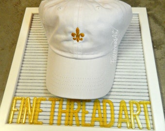 LADIES Fleur de Lis Hat with Side Monogram Baseball Cap LEATHER strap Bridesmaid Bride Bachelorette New Orleans Louisiana Cajun Who Dat