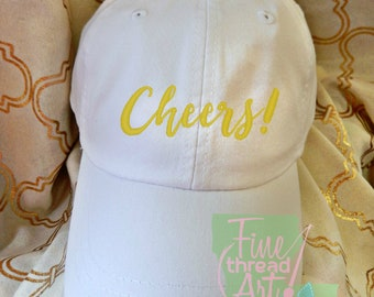 Adult or Ladies Cheers Wedding Baseball Cap Hat LEATHER strap Preppy Bride Bridesmaid Honeymoon Bachelorette Party Trip Toast Champagne