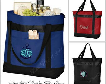 Large Cooler Tote Bag in Black Royal Blue or Red with Monogram or Name Embroidered and Zippered Top