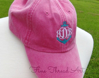 LADIES Anchor Monogram Baseball Cap Hat LEATHER strap Mom Bridesmaid Bride Bachelorette Pigment Dyed Beach