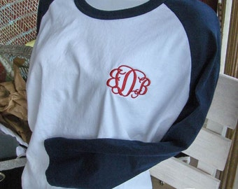 Monogram Baseball Tee TShirt Raglan Sleeve Shirt Team Colors Little League Mom Plus Size Available