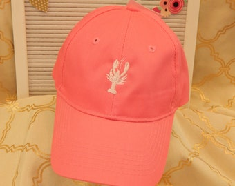Ready to Ship Kids Child Youth Baseball Hat Cap Neon Pink with White Crawfish Lobster