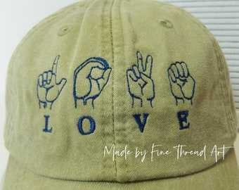 READY to SHIP Love American Sign Language ASL Adult Hat Khaki Tan and Navy Thread Dad Hat Ladies Men Size Hands Fingers