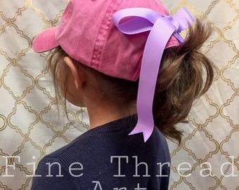 Add On Bow to the Back of Any Purchased Hat from Our Shop Sewn On Hair Bow Football Baseball Soccer Rainbow Stripe Paw Print Team Colors
