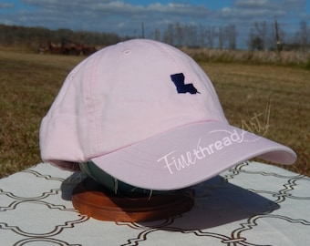 Adult or Kids Mini State Baseball Cap Hat LEATHER strap Monogram Preppy Louisiana South Carolina Texas California Alabama Bachelorette