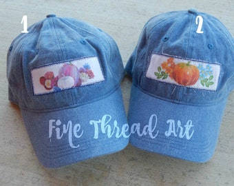 Ready to Ship Watercolor Halloween Dad Hat Adult Baseball Hat Cap Orange Gold Jewel Tone Hot Pink Pumpkin Fall Patch Applique Floral