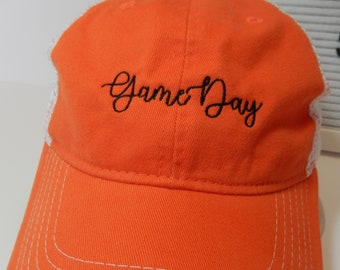 READY TO SHIP Game Day Adult Hat Orange White and Black Trucker Dad Hat Ladies Men Size Louisiana Delcambre Panthers Football Mom Tailgate