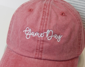 READY TO SHIP Game Day Adult Hat Vintage Red and White Dad Hat Ladies Men Size football Mom Friday Night Tailgate Alabama Louisiana Georgia