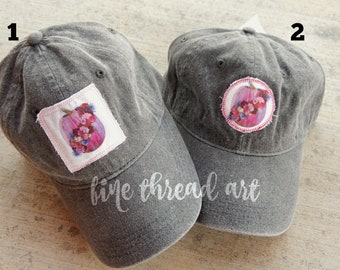 Ready to Ship Watercolor Halloween Charcoal Gray Dad Hat Adult Baseball Hat Cap Jewel Tone Hot Pink Pumpkin Fall Patch Applique Floral