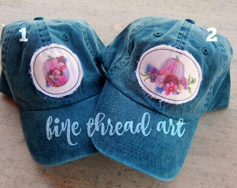Ready to Ship Watercolor Halloween Navy Dad Hat Adult Baseball Hat Cap Jewel Tone Hot Pink Pumpkin Fall Patch Applique Floral