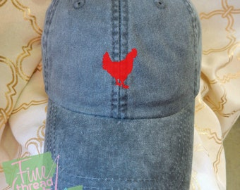 Kids or Adult Ladies Size Chicken Mini Design Baseball Cap Hat Leather Strap Beach hat Vacation Farm Livestock Rodeo Hen Rooster Eggs