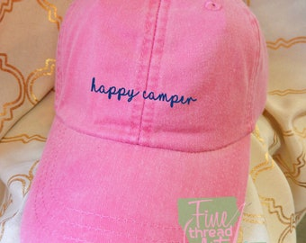 LADIES Happy Camper with Side Monogram Baseball Cap LEATHER strap Pigment Dyed Summer Beach Vacation Cruise Travel Camping RV Motorhome Trip